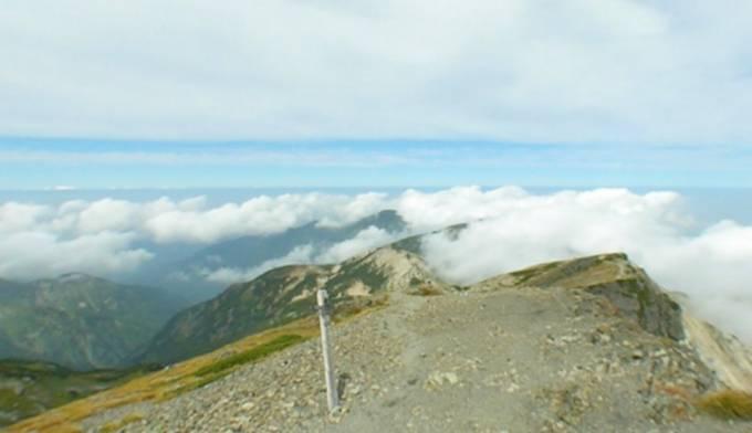 白馬岳山頂からの景色パノラマビューと雨雲レーダー/富山県朝日町