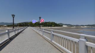 竹島橋中央のパノラマビューと雨雲レーダー/愛知県蒲郡