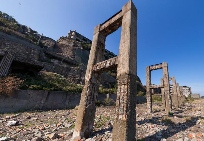 廃墟好きにおすすめ!軍艦島 貯炭場のパノラマビュー