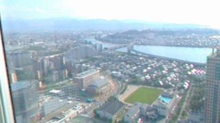 福岡タワー(展望室)から見えるパノラマビューと雨雲レーダー/福岡県福岡市