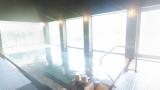 むいかいち温泉ゆらら 温泉大浴場のパノラマビューと雨雲レーダー/島根県鹿足郡吉賀町