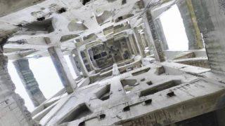 竪坑櫓[内観]のパノラマビューと雨雲レーダー/福岡県糟屋郡志免町
