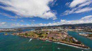 オアフ島カカアコ・ウォーターフロント公園のパノラマビュー/アメリカ ハワイ