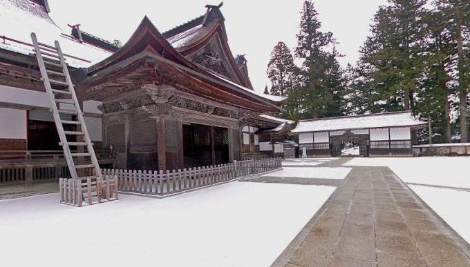 高野山・総本山金剛峯寺境内の雪景色パノラマビュー