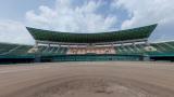 佐賀県立森林公園の球場のパノラマビューと雨雲レーダー/佐賀県佐賀市