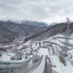 スキージャンプ台のスタート地点周辺パノラマビュー